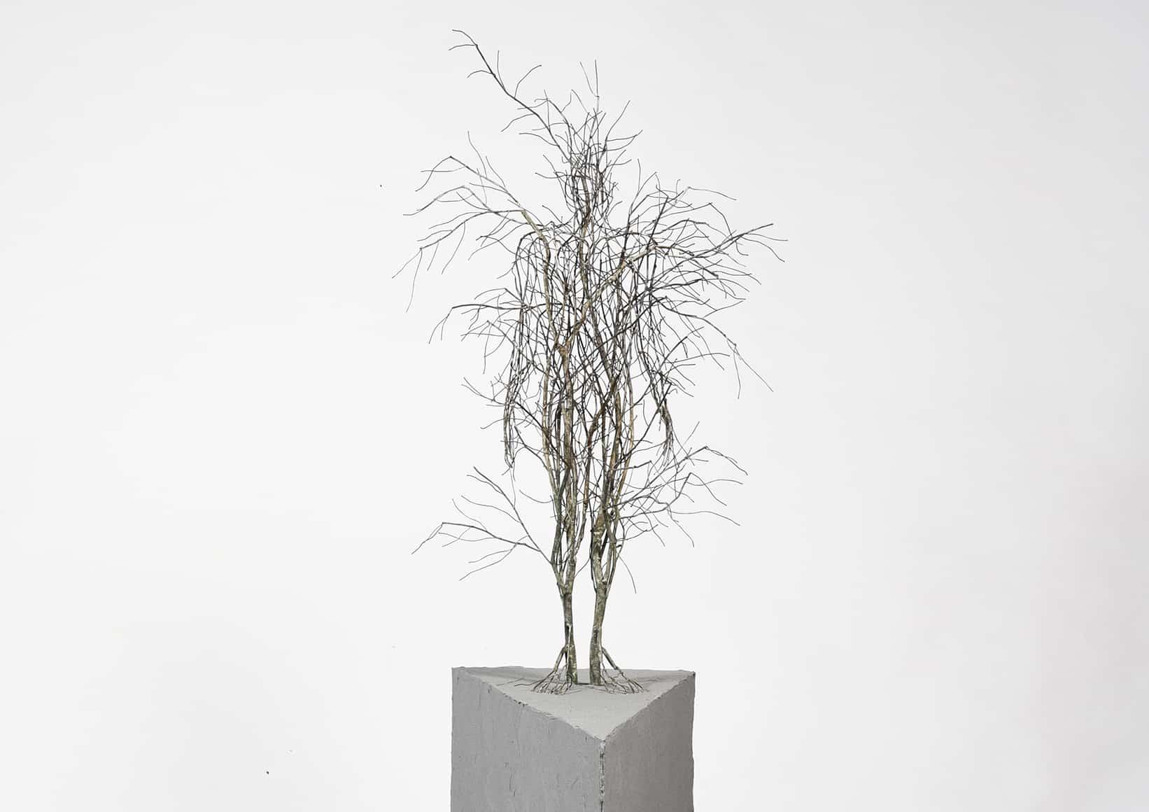 raices de acero inoxidable sun hyuk kim escultura