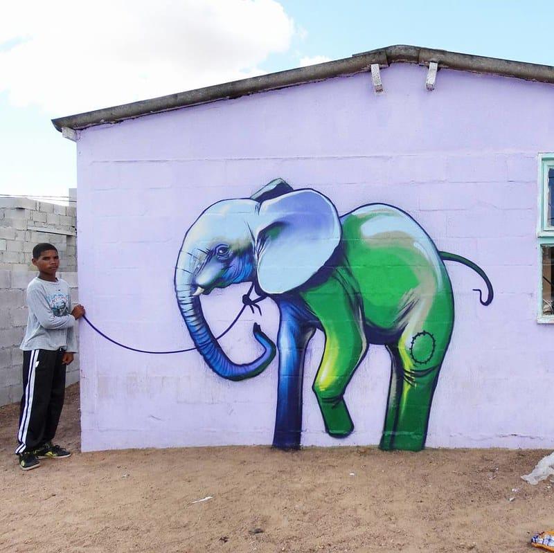 falko one elefantes sudafrica graffiti