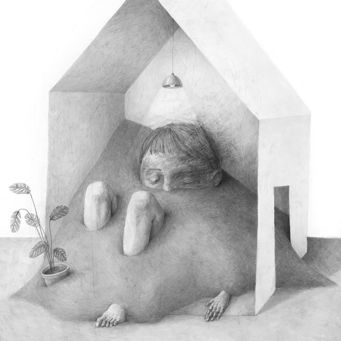 zsaitsits ilustracion lapiz casa