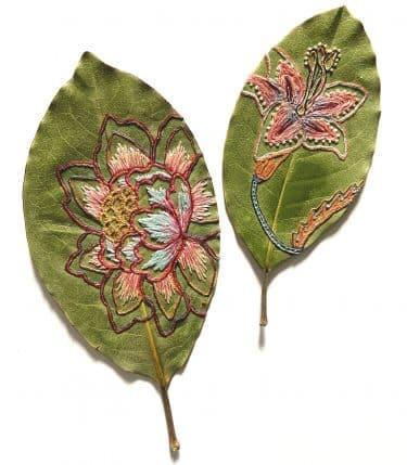 hillary bordado botanico hojas