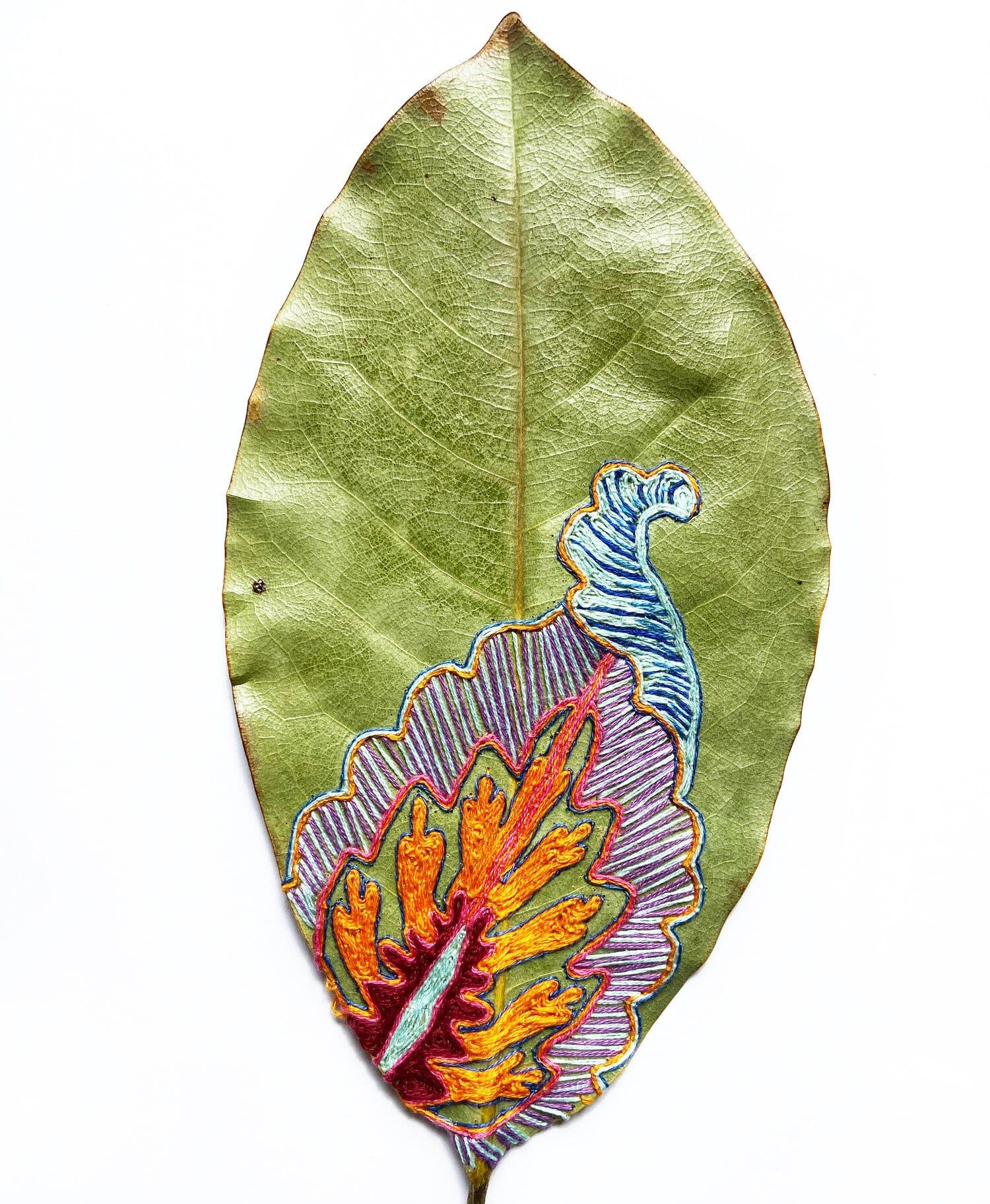 hillary bordado botanico hojas natural
