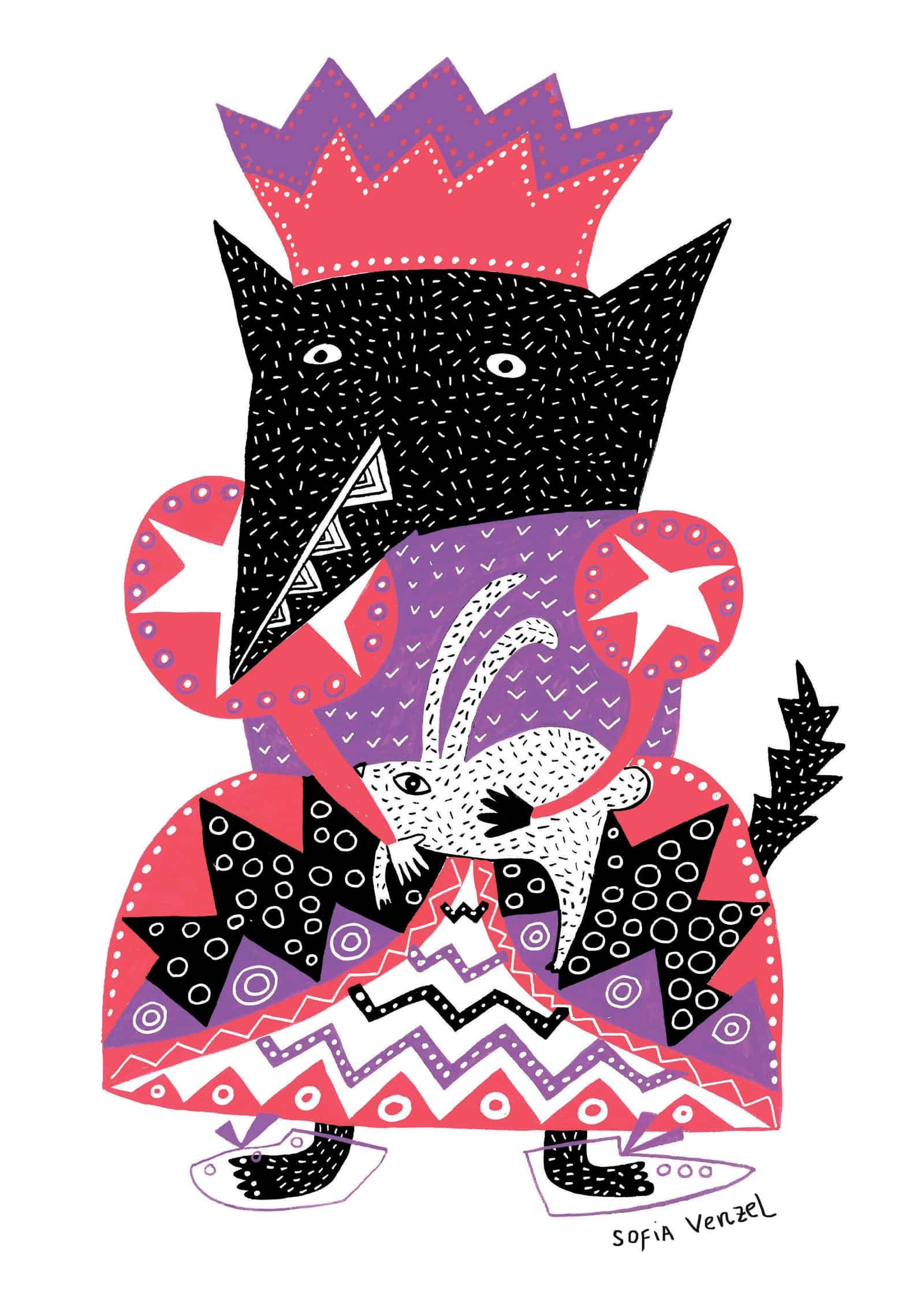 wolf cat de sofia venzel ilustracion