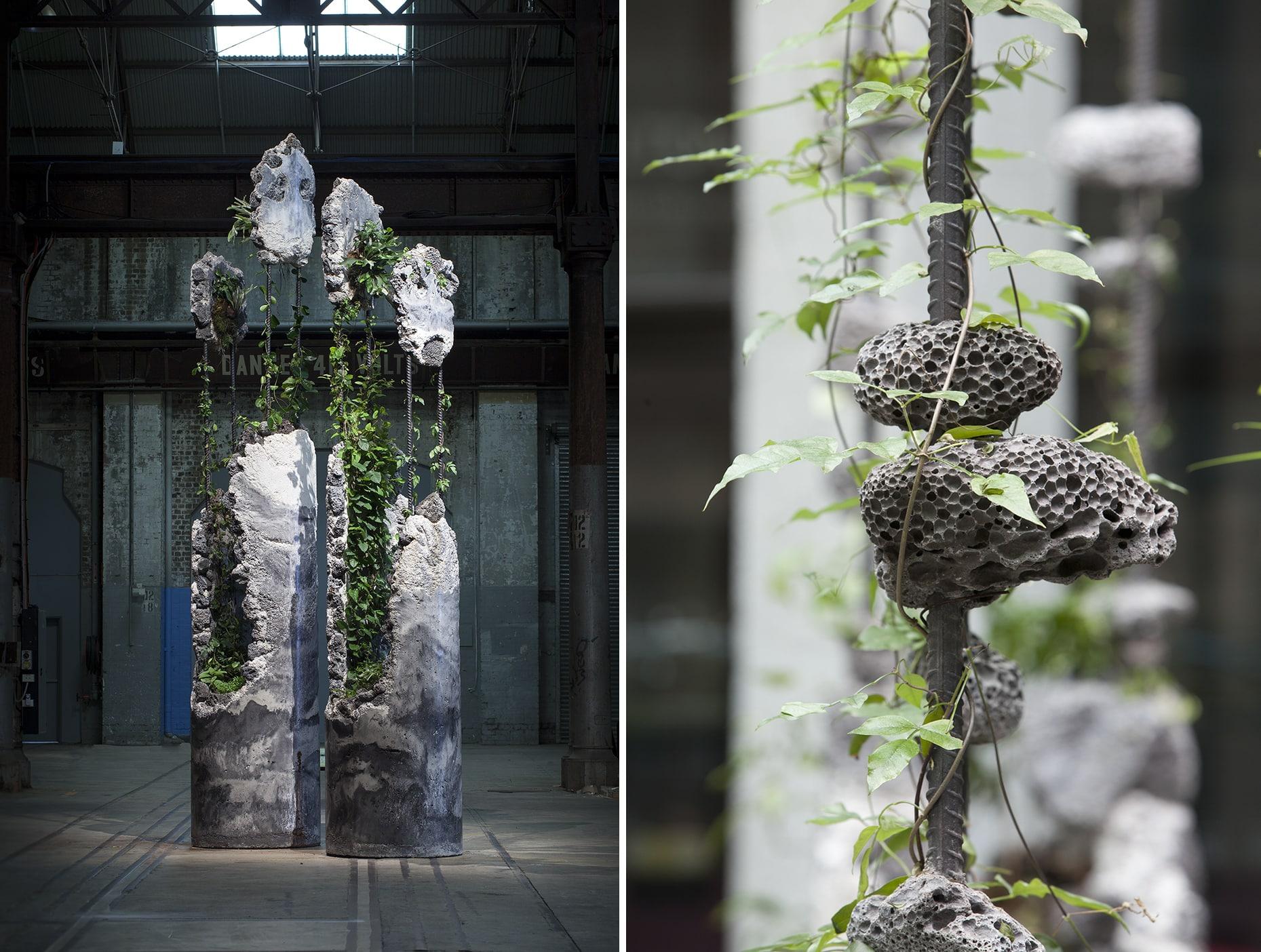 esculturas jamie north columnas Succession nido