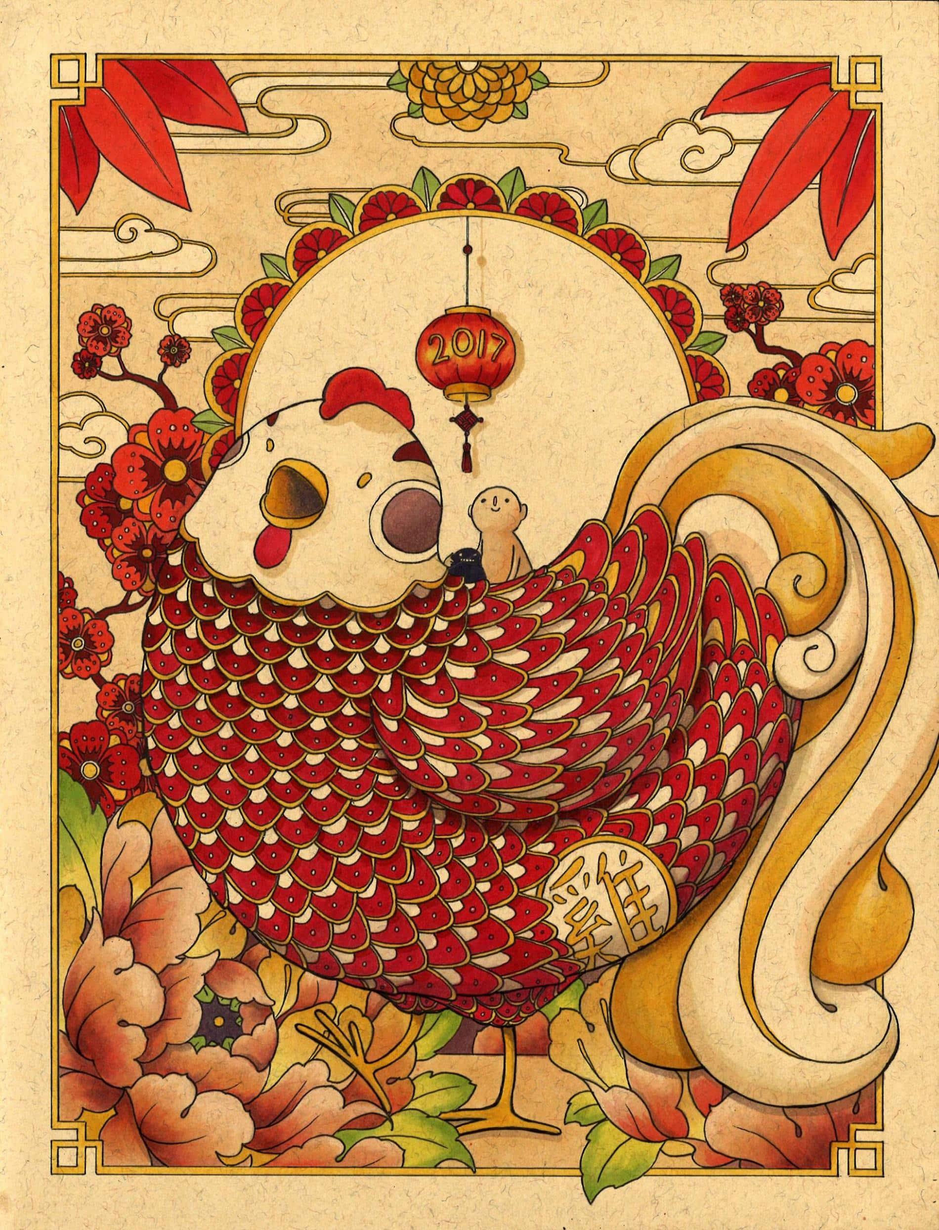 ilustraciones felicia chiao año chino gallo