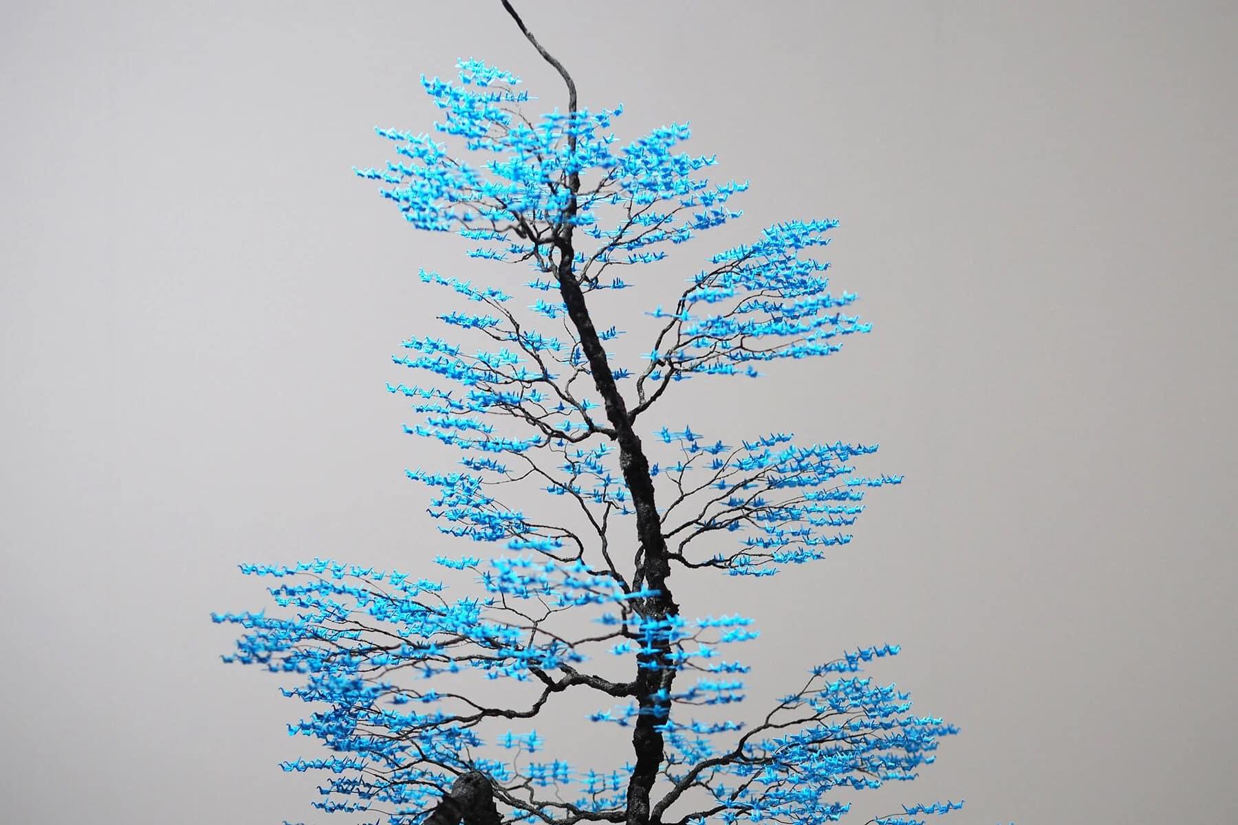 grullas mini origamo naoki onogawa bonsai azul