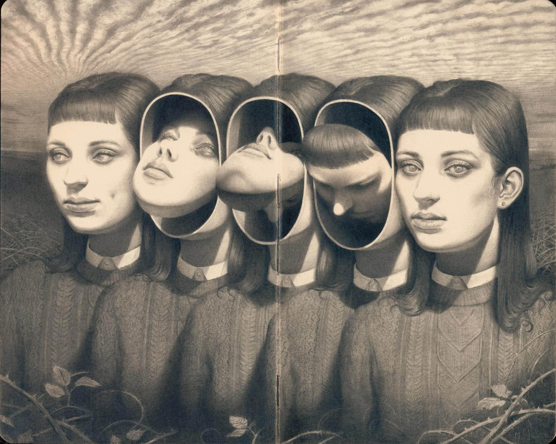 johnston retratos grafito metamorfosis caras