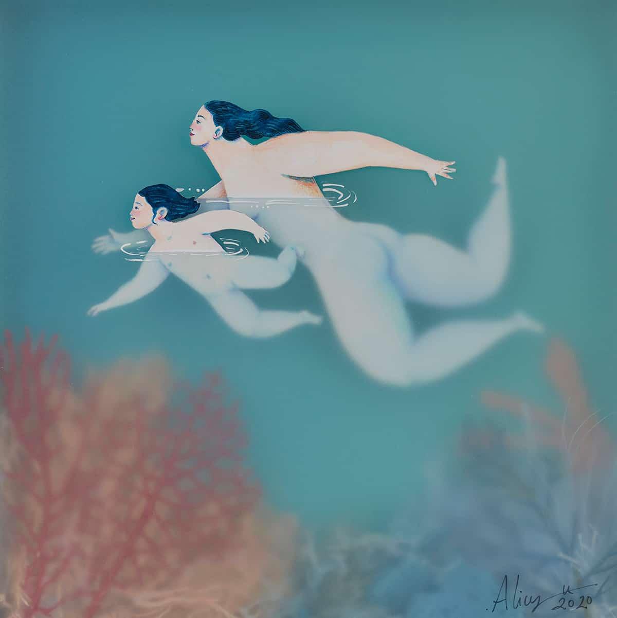 sonia alins mar en calma obra mujeres en agua amor y guia