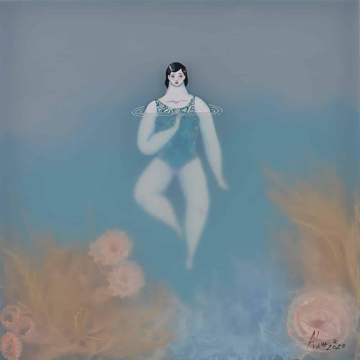 sonia alins mar en calma obra mujeres en agua bath