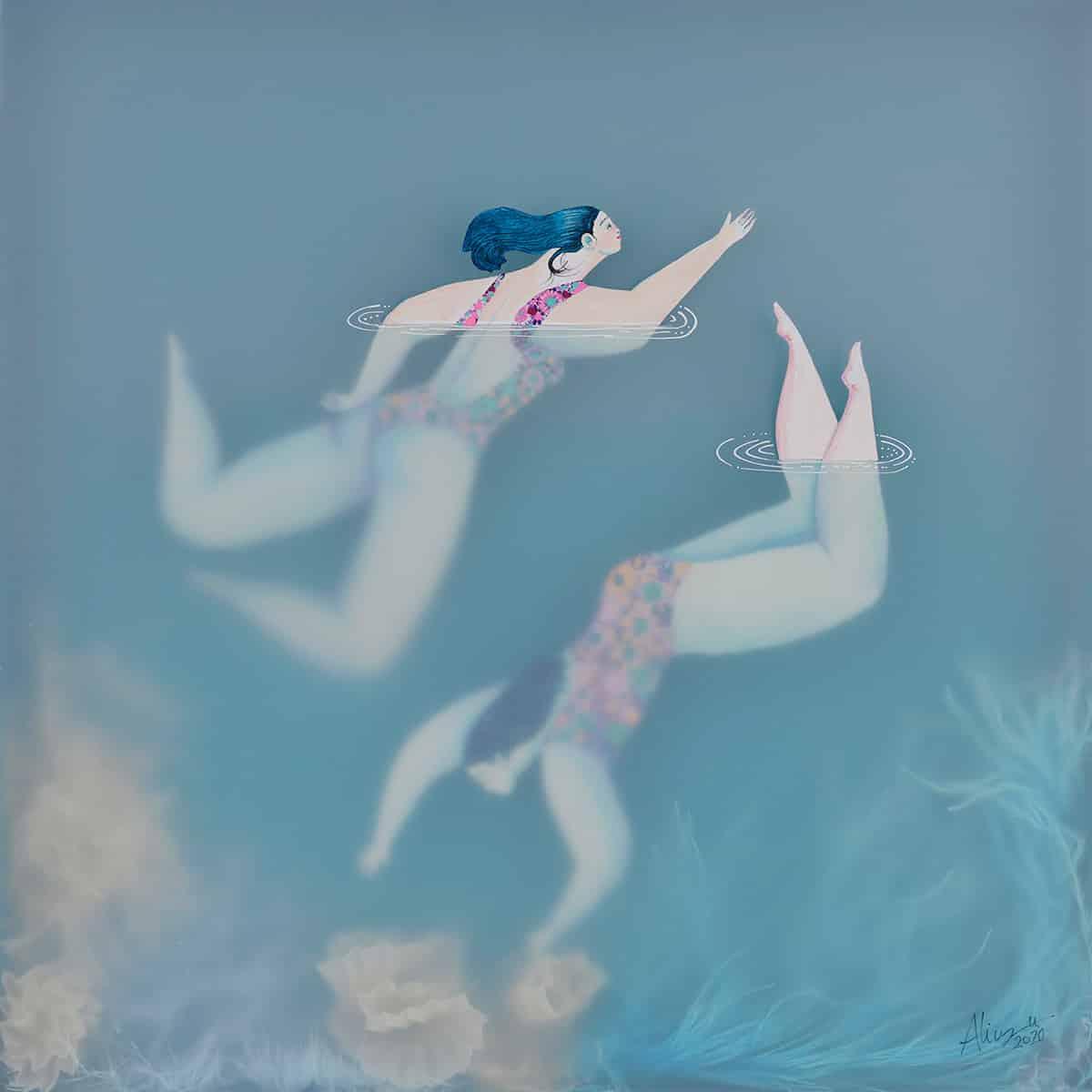 sonia alins mar en calma obra mujeres en agua friends