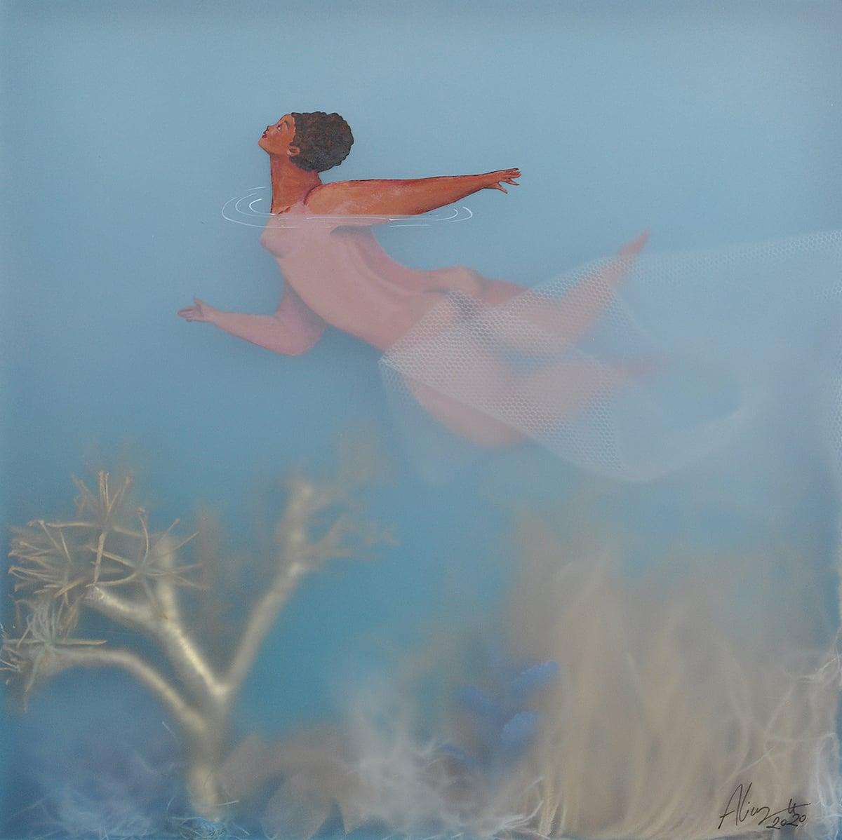 sonia alins mar en calma obra mujeres en agua nadadora en el paraiso