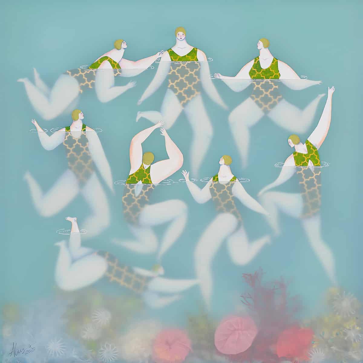 sonia alins mar en calma obra mujeres en agua sincro