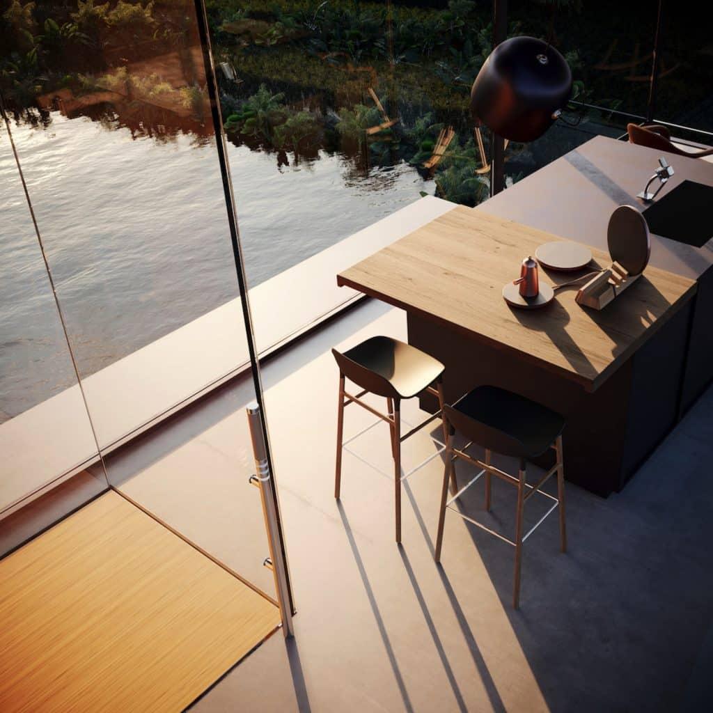 adriano design casa de cristal arrozal render 3