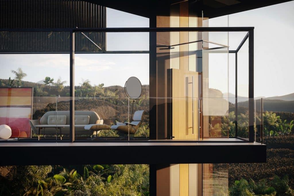 adriano design casa de cristal arrozal render