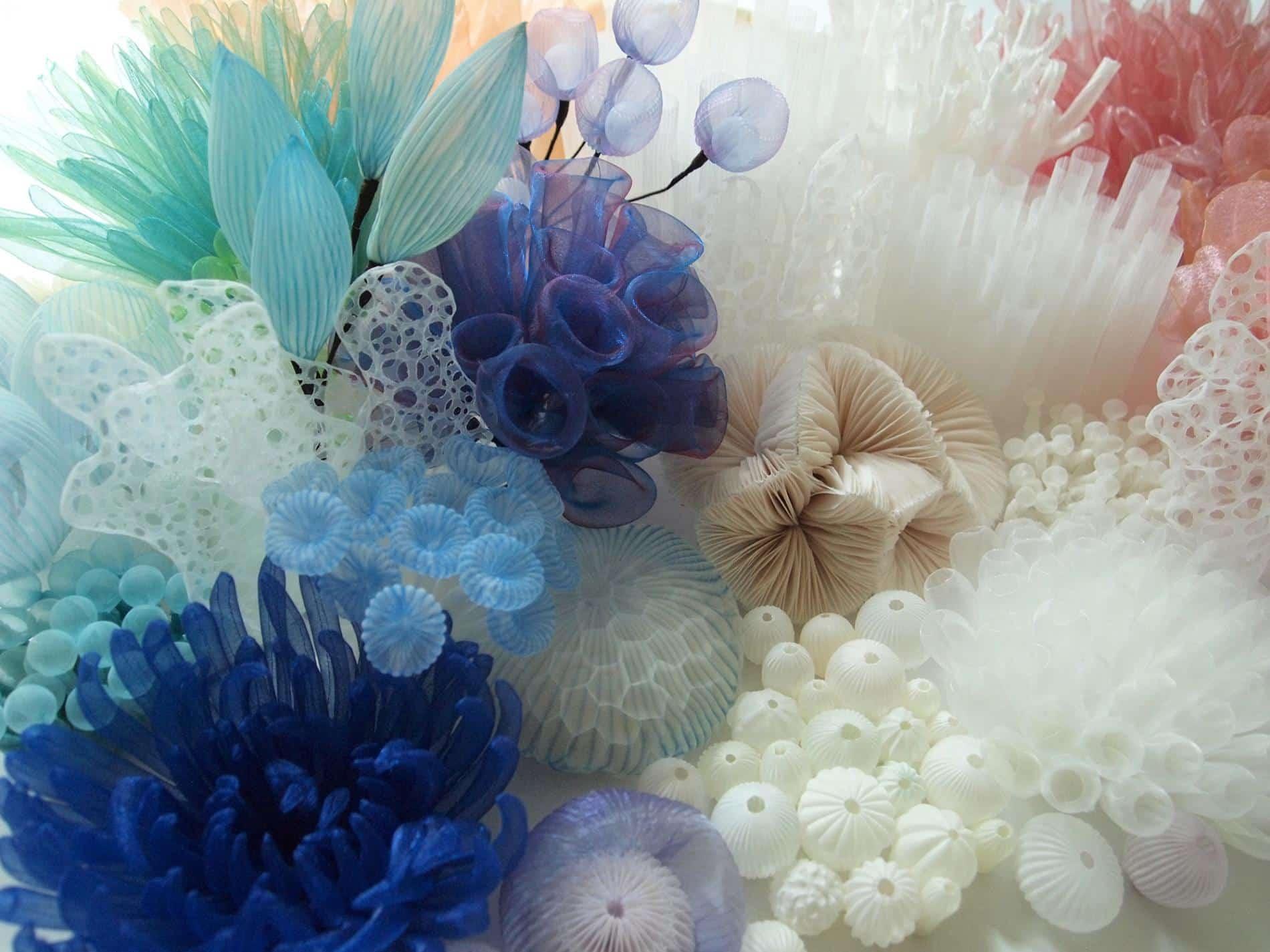 kusumoto textiles traslucidos mar