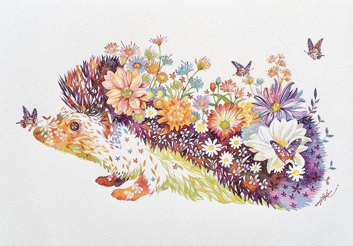 takeda floral puerco espin 2