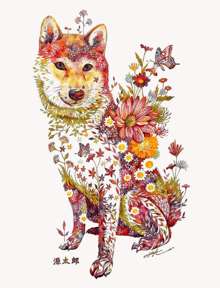 takeda perro floral