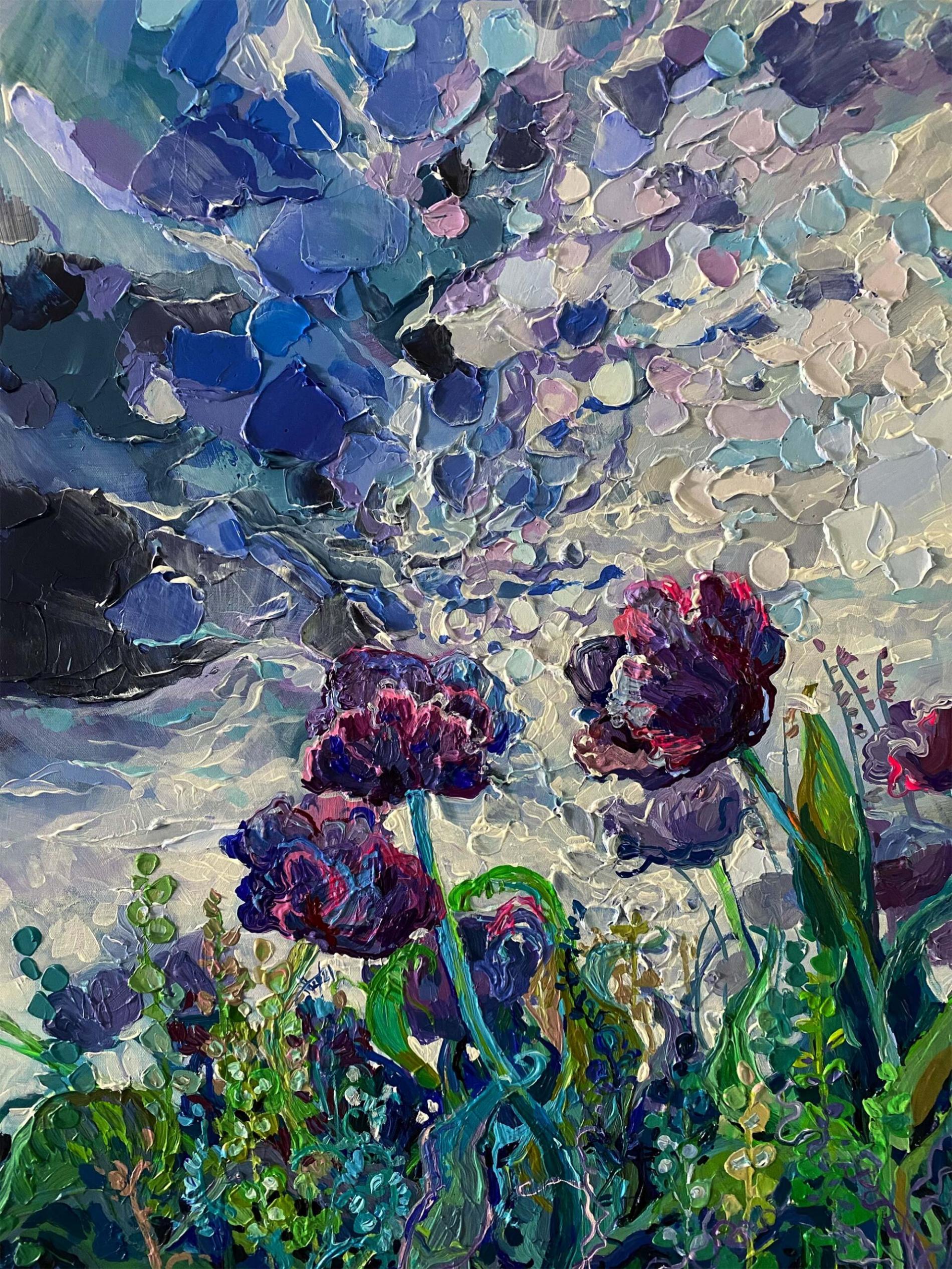 trusova impresionismo grafico flores
