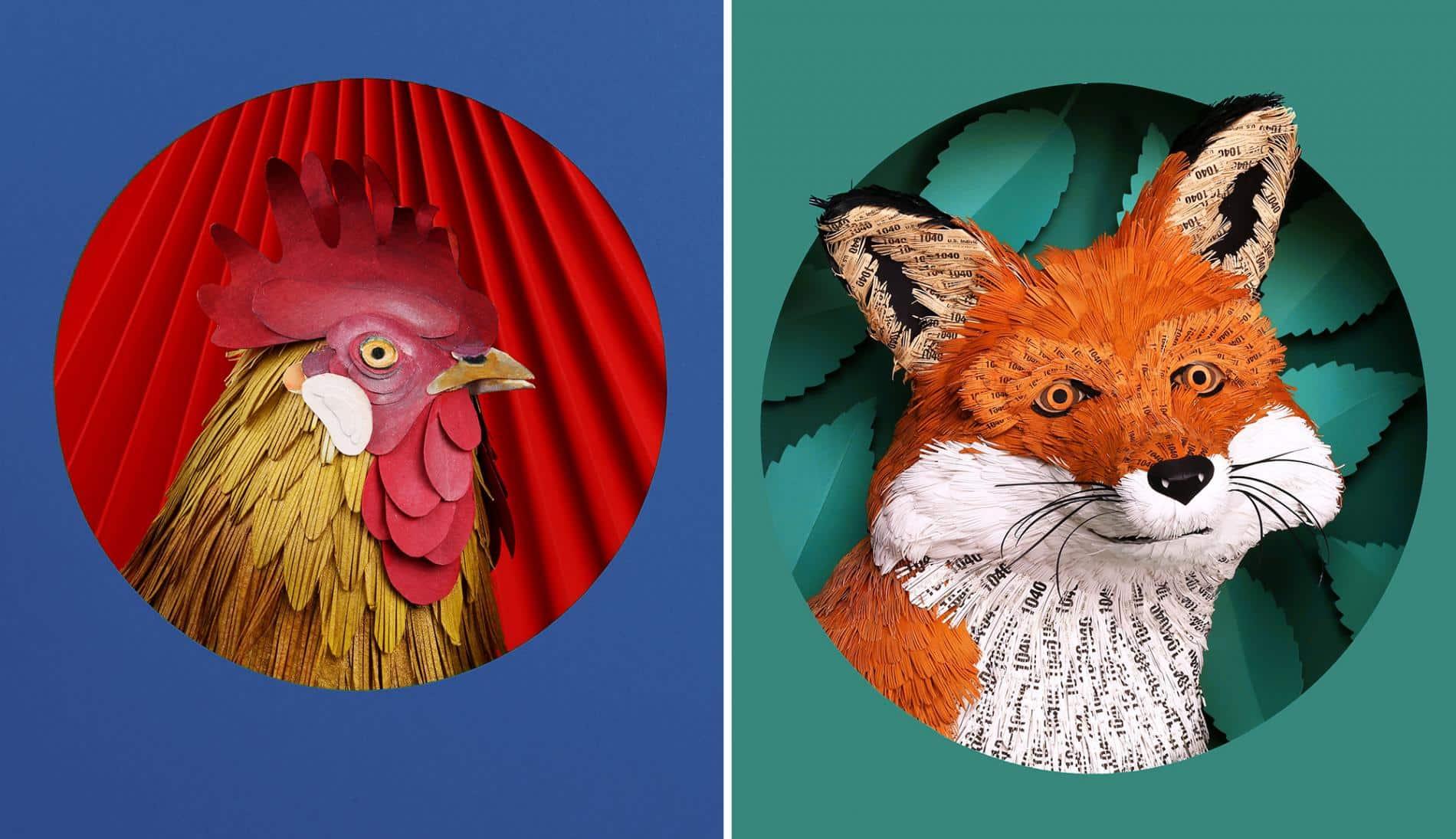 Diana beltran herrera escultura de papel animales