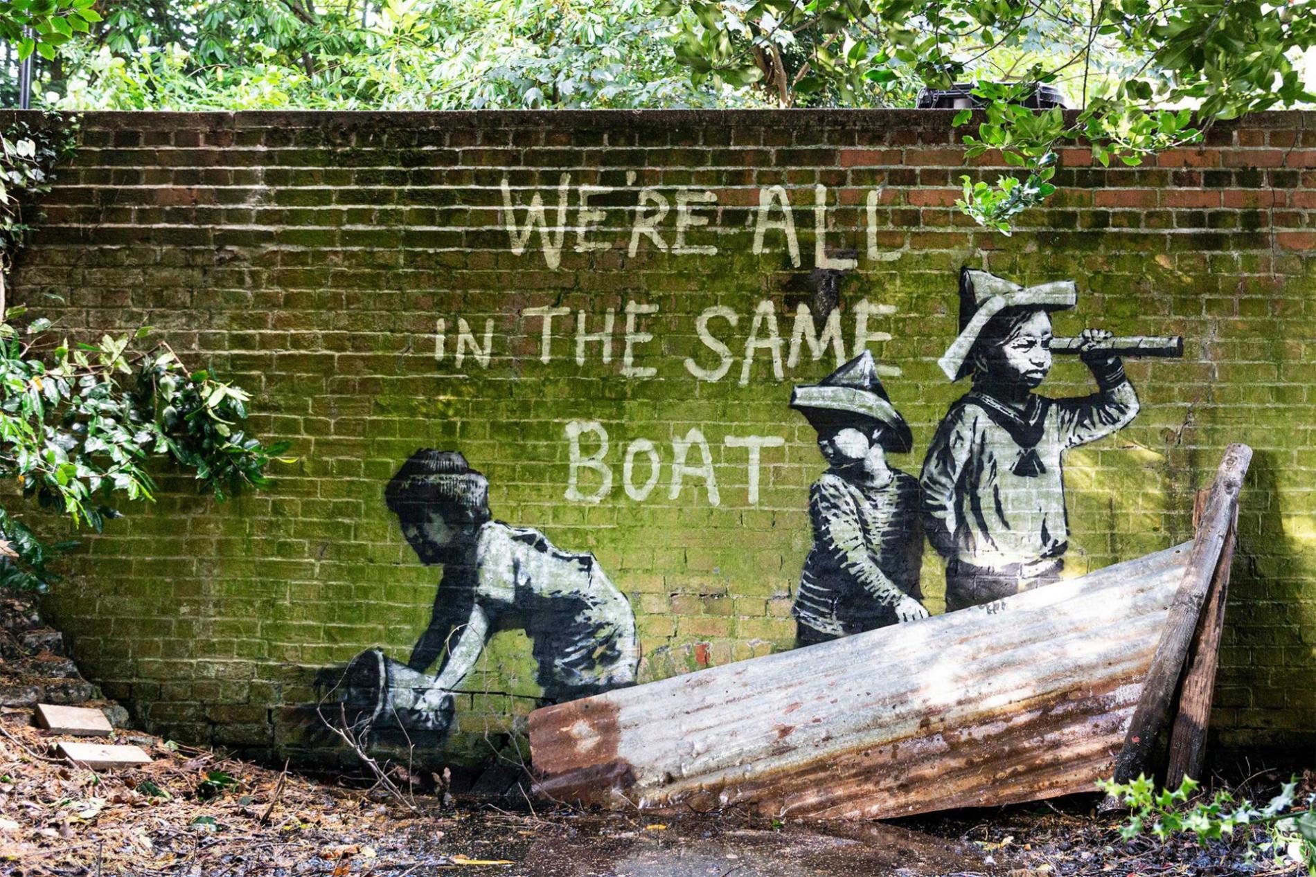 banksy barco niños