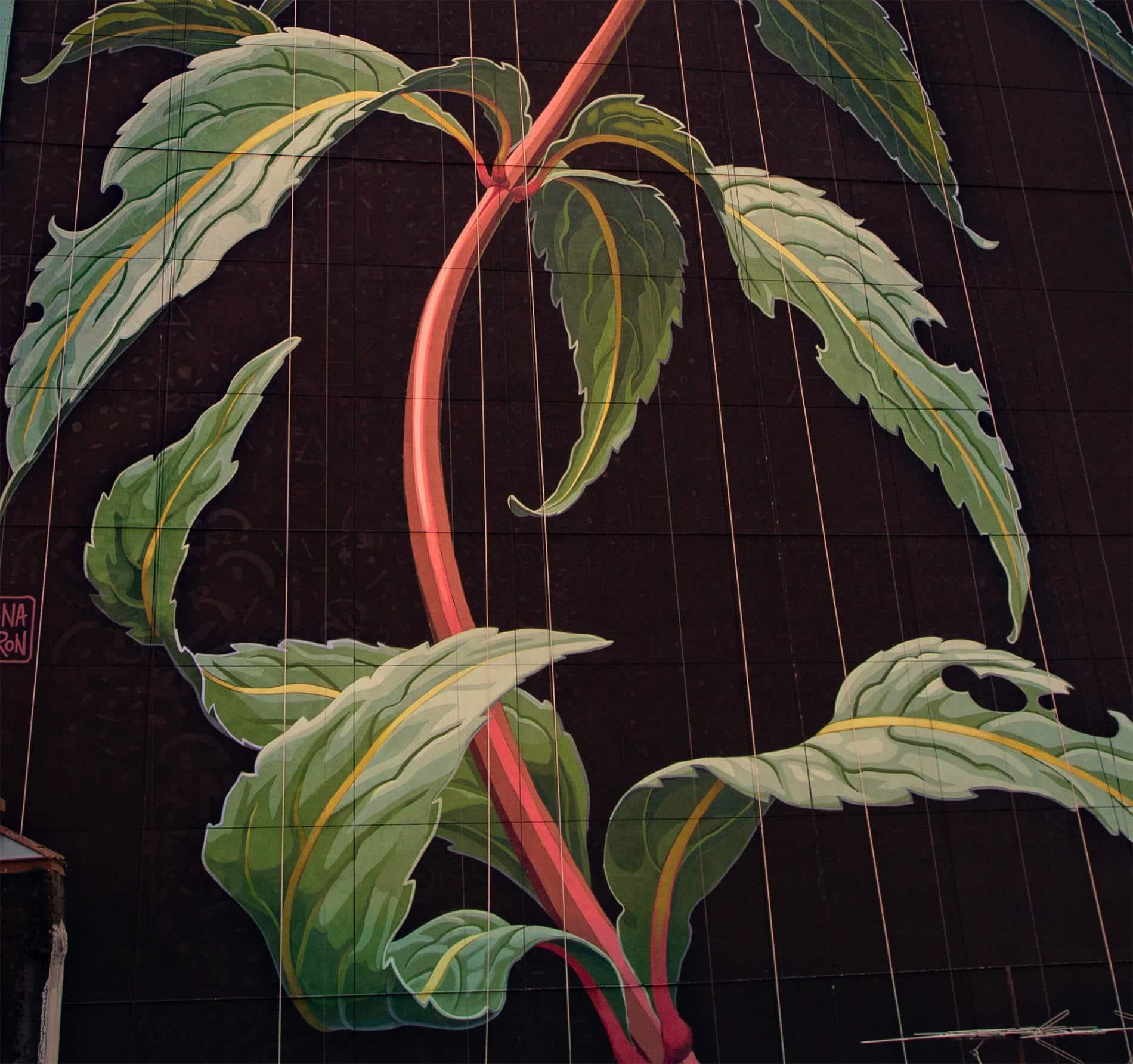 mona caron mural flor silvestre detalle