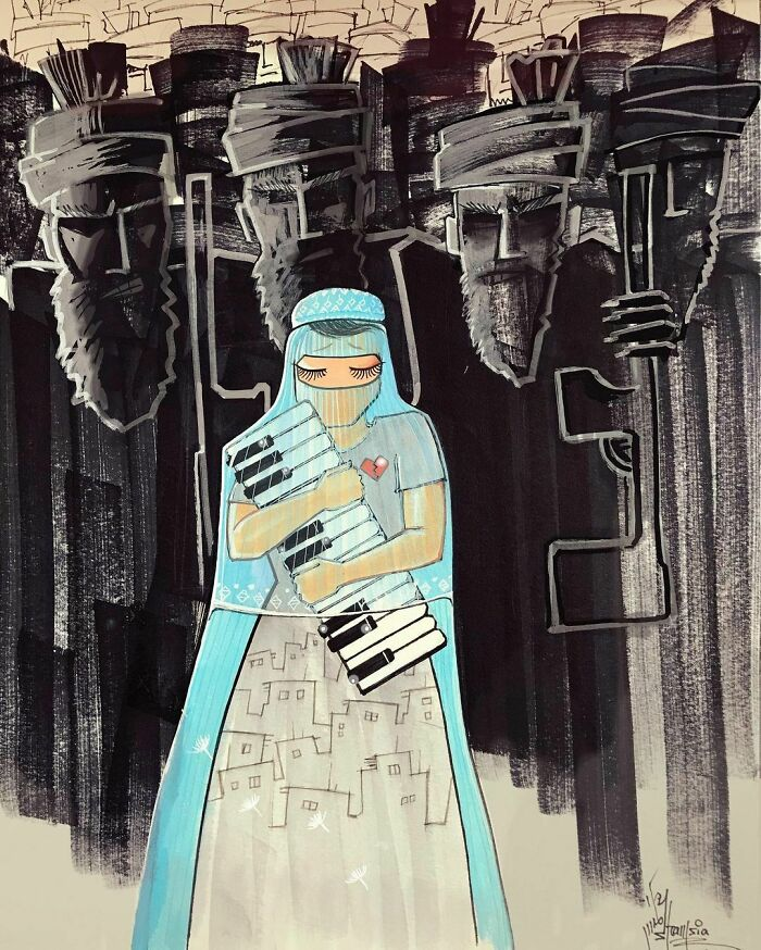 shamsia hassani piano street art