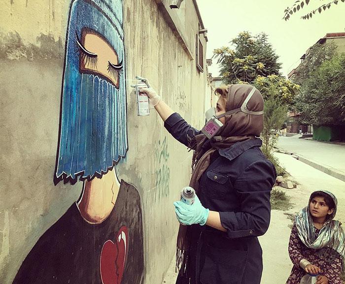 shamsia hassani street art afganistan paint