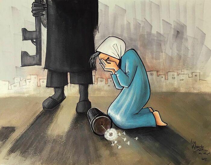 shamsia hassani street art guerra