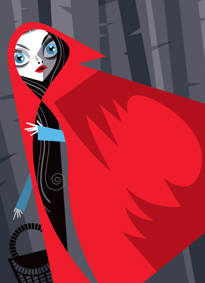 Ilustración cubista de caperucita roja por Pablo Lobato