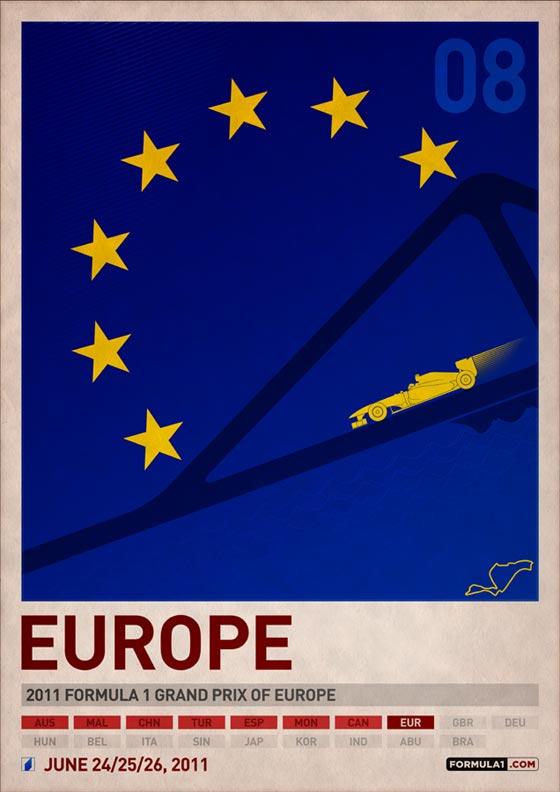 Poster cartel de gran premio de europa de automovlismo