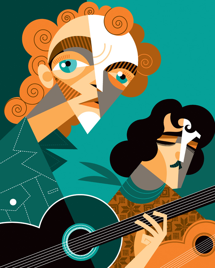 Caricatura cubista de banda de rock ilustrada por Pablo Lobato