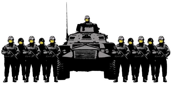 Ten un buen día, soldados con smile, cuadro de banksy