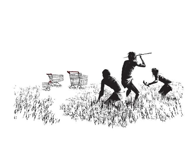 indigenas cazando un carro de compra hecho por banksy